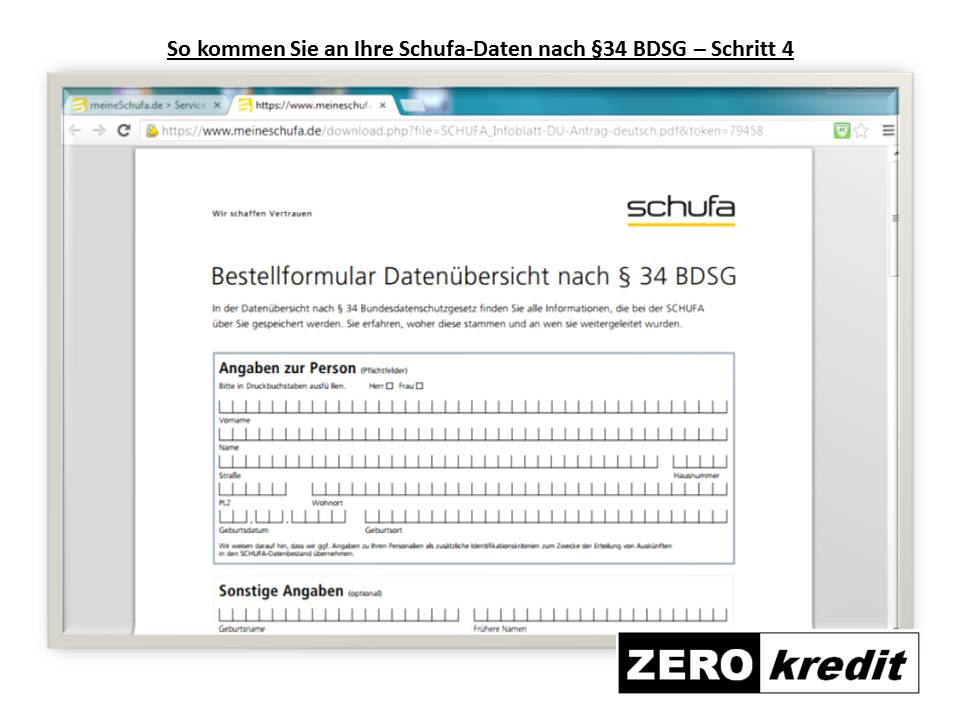 So kommen Sie an Ihre Schufa-Daten nach §34 BDSG – Schritt 4
